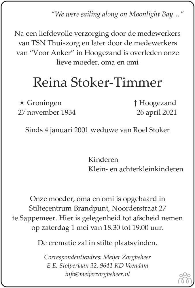 Overlijdensbericht van Reina Stoker-Timmer in Dagblad van het Noorden