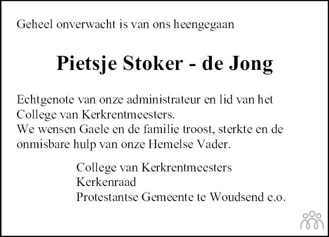 Overlijdensbericht van Pietje (Pietsje) Stoker-de Jong in Leeuwarder Courant