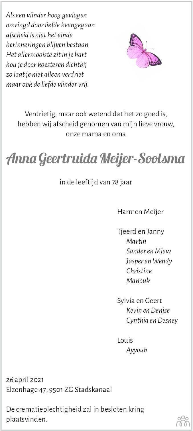 Overlijdensbericht van Anna Geertruida Meijer-Soolsma in Dagblad van het Noorden