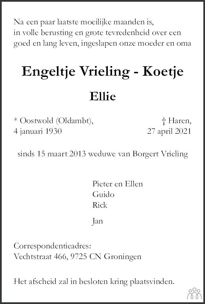 Overlijdensbericht van Engeltje (Ellie) Vrieling-Koetje in Dagblad van het Noorden