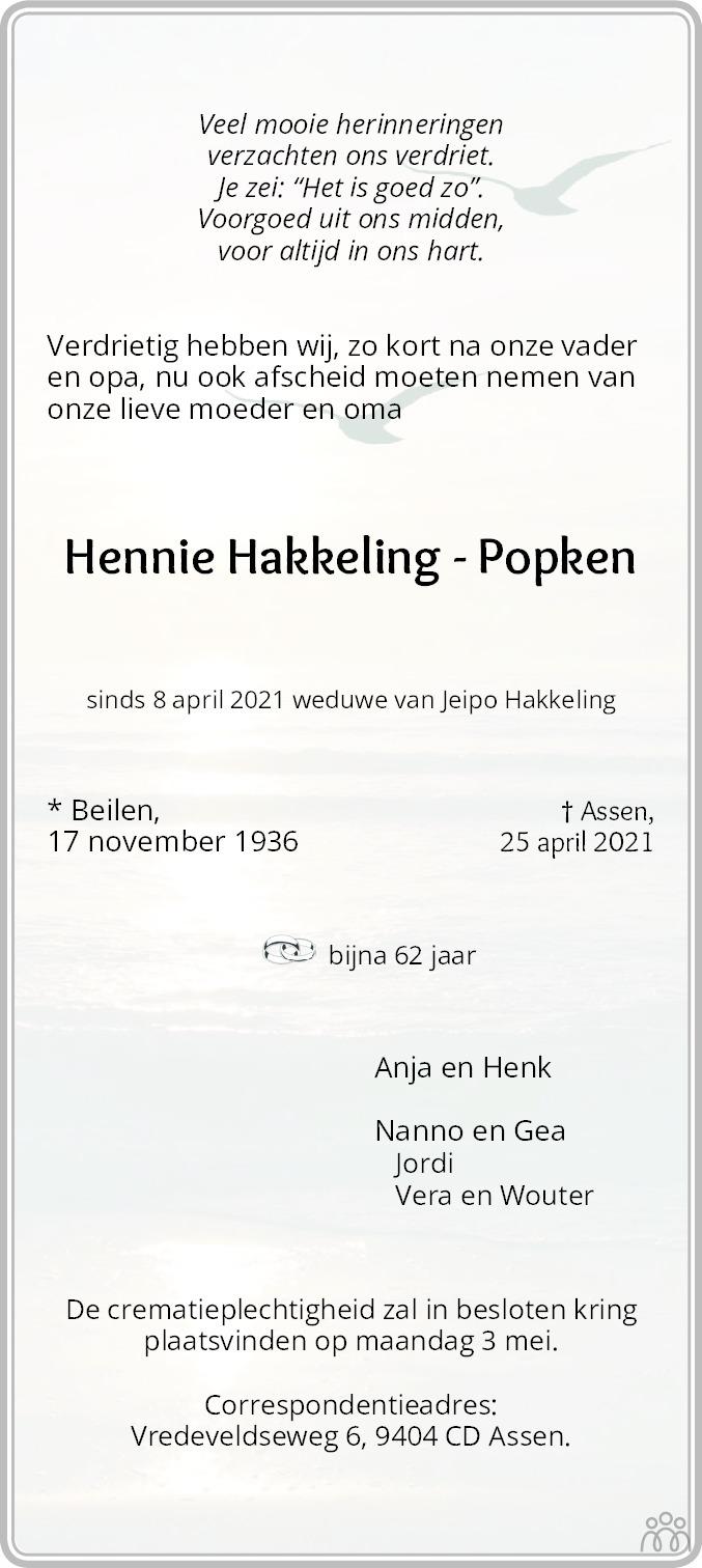 Overlijdensbericht van Hennie Hakkeling-Popken in Dagblad van het Noorden