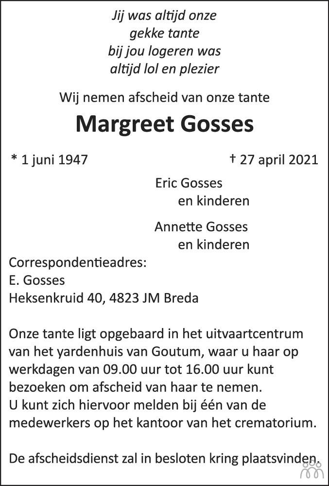 Overlijdensbericht van Margreet Gosses in Leeuwarder Courant