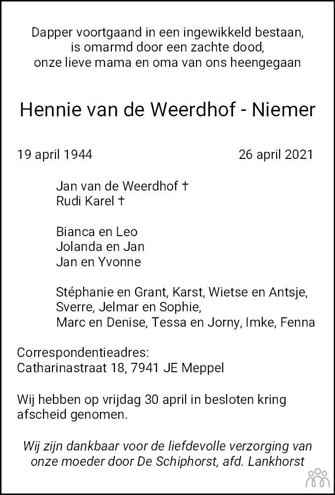 Overlijdensbericht van Francina Hendrika (Hennie) van de Weerdhof-Niemer in Meppeler Courant