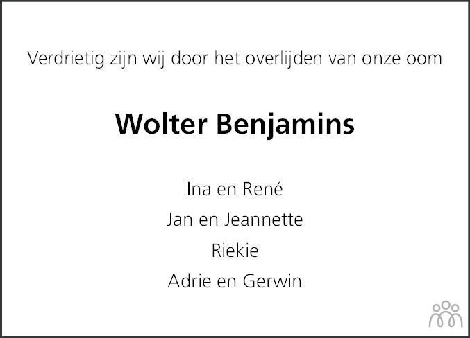 Overlijdensbericht van Wolter Benjamins in Hoogeveensche Courant