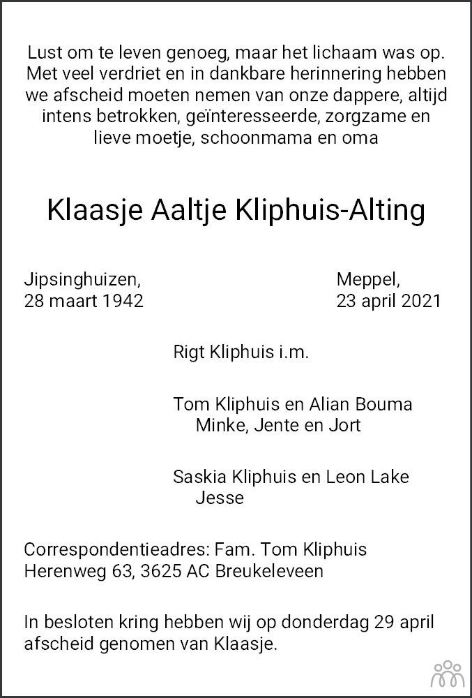 Overlijdensbericht van Klaasje Aaltje Kliphuis-Alting in Meppeler Courant