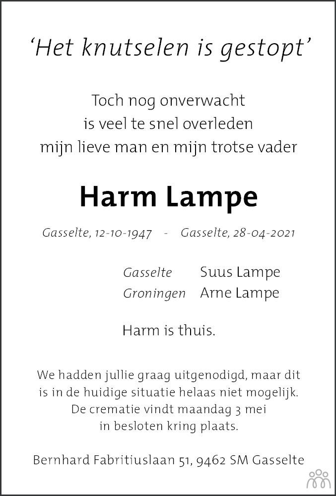 Overlijdensbericht van Harm Lampe in Dagblad van het Noorden