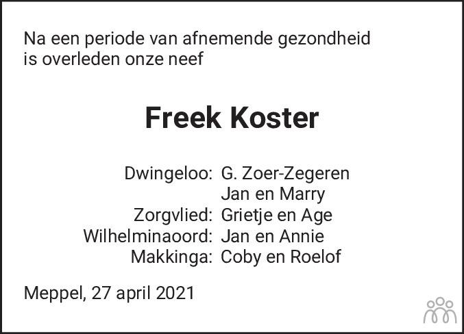 Overlijdensbericht van Freek Koster in Meppeler Courant
