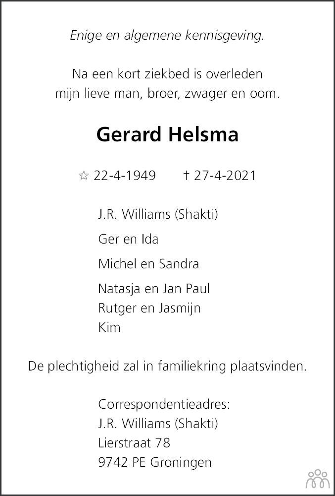 Overlijdensbericht van Gerard Helsma in Dagblad van het Noorden