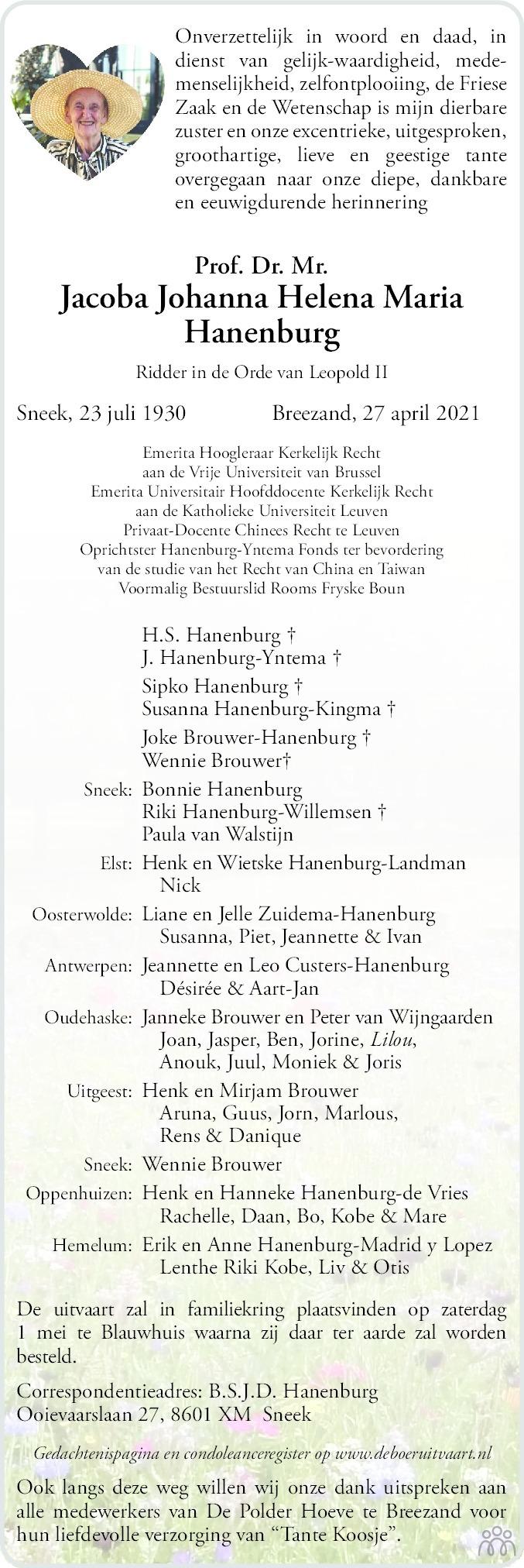 Overlijdensbericht van Jacoba Johanna Helena Maria Hanenburg in Leeuwarder Courant