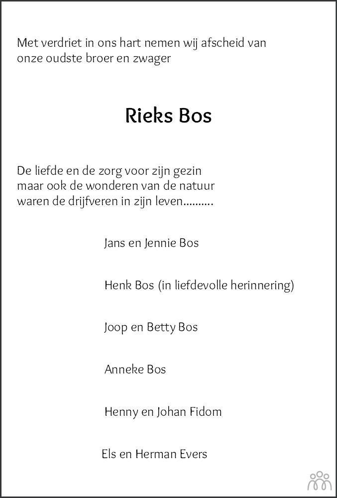 Overlijdensbericht van Hendrikus (Rieks) Bos in Hoogeveensche Courant
