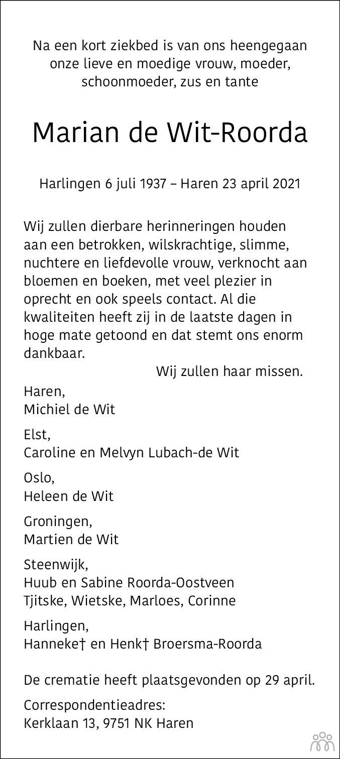 Overlijdensbericht van Marian de Wit-Roorda in Dagblad van het Noorden