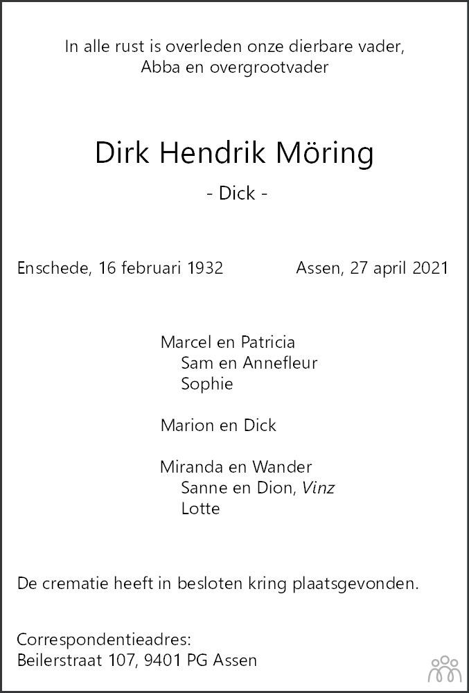 Overlijdensbericht van Dirk (Dick) Hendrik Möring in Dagblad van het Noorden