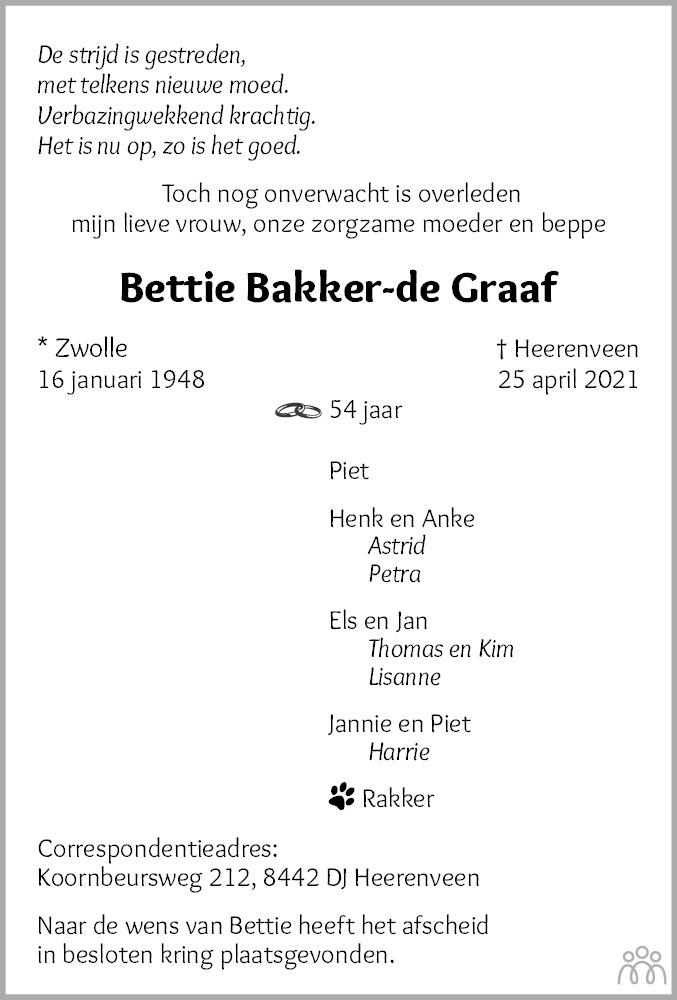 Overlijdensbericht van Bettie Bakker-de Graaf in Leeuwarder Courant