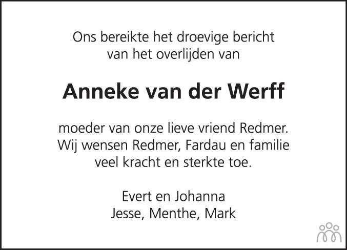 Overlijdensbericht van Anneke van der Werff in Leeuwarder Courant