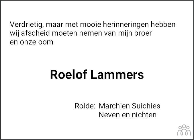 Overlijdensbericht van Roelof Lammers in Dagblad van het Noorden