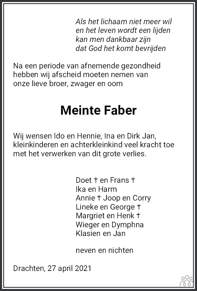 Overlijdensbericht van Meinte Faber in Leeuwarder Courant