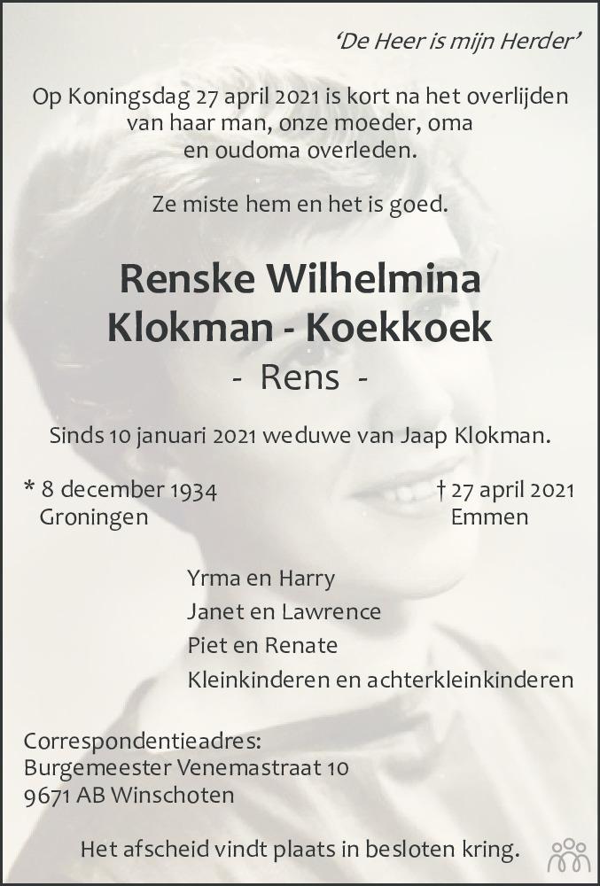 Overlijdensbericht van Renske Wilhelmina (Rens) Klokman-Koekkoek in Dagblad van het Noorden
