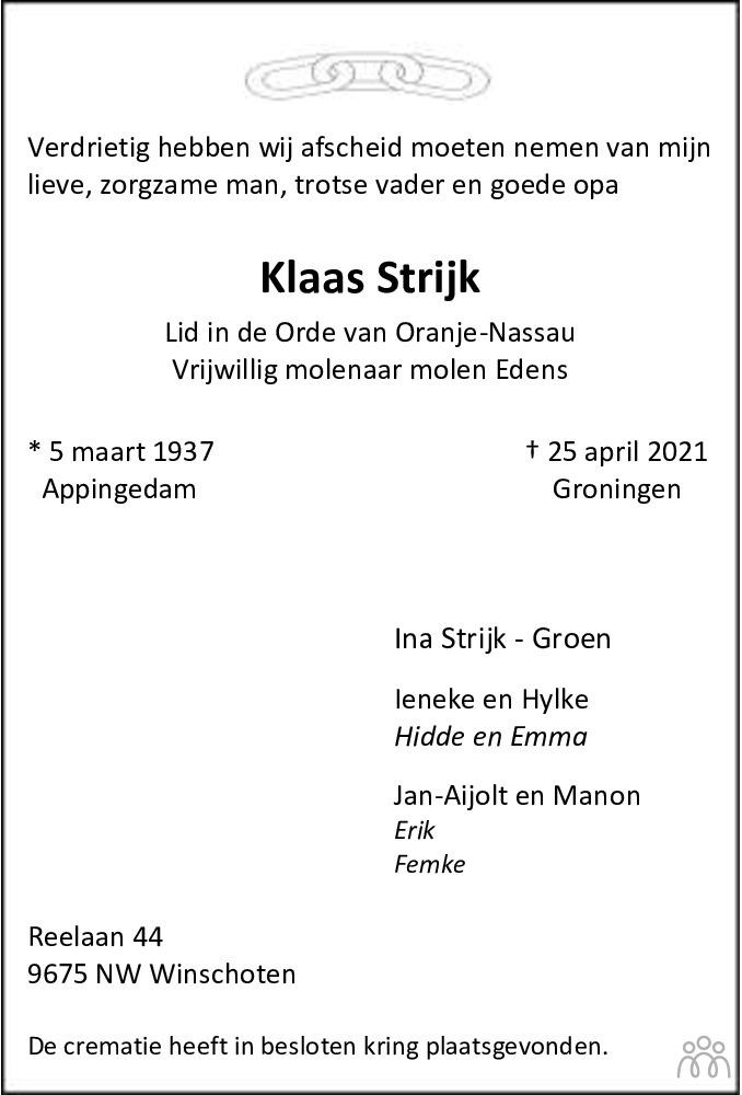 Overlijdensbericht van Klaas Strijk in Dagblad van het Noorden