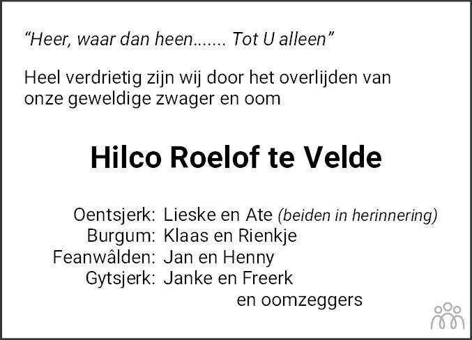 Overlijdensbericht van Hilko Roelof (Hilco) te Velde in Leeuwarder Courant