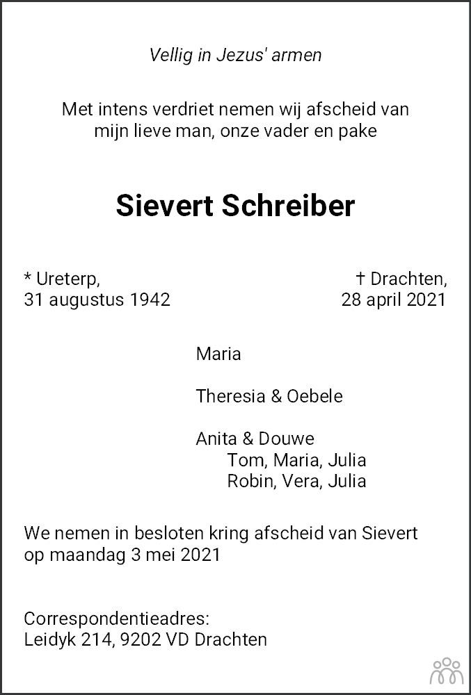 Overlijdensbericht van Sievert Schreiber in Leeuwarder Courant