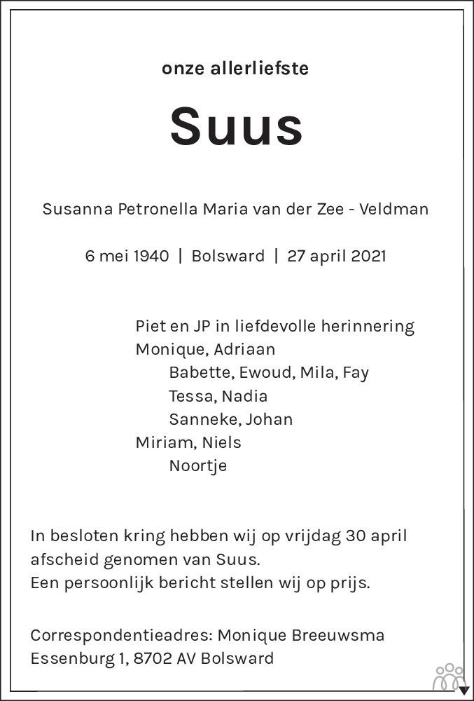 Overlijdensbericht van Susanna (Suus) Petronella Maria van der van der Zee-Veldman in Leeuwarder Courant