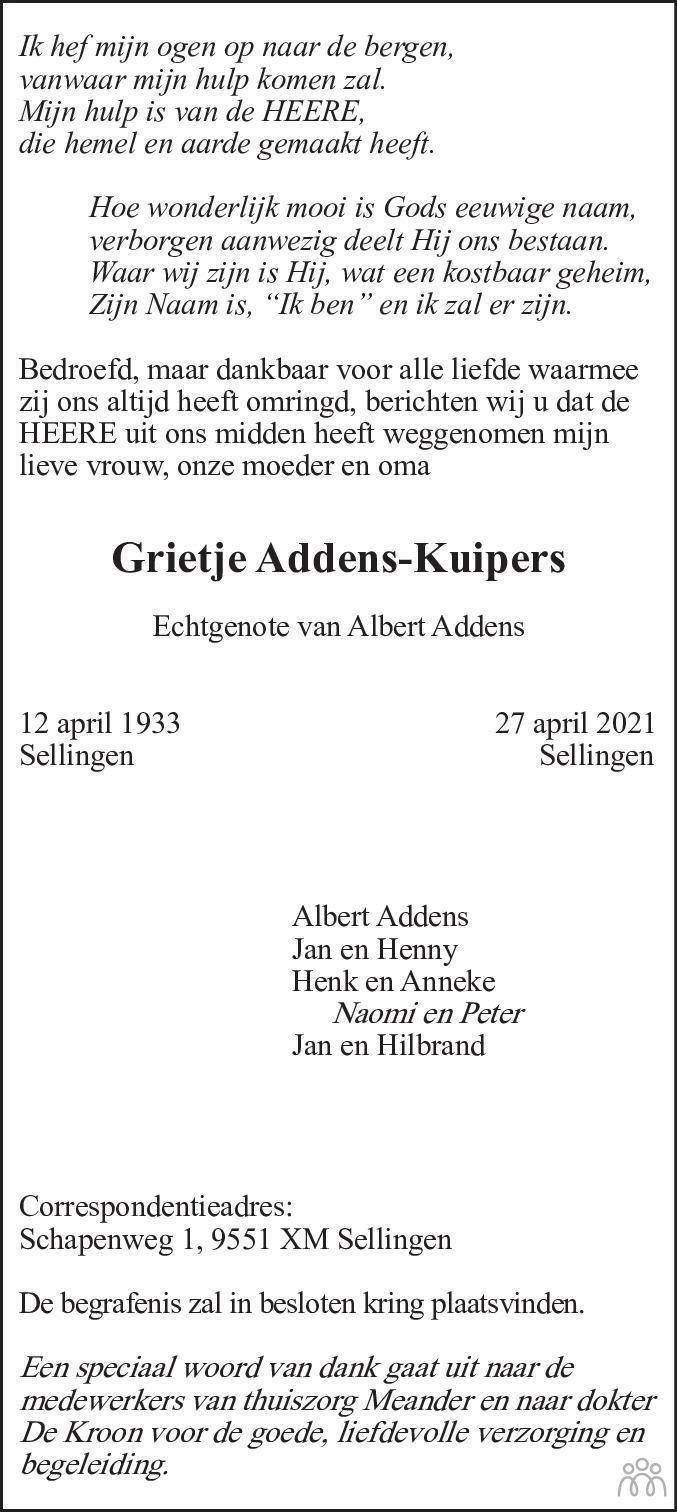 Overlijdensbericht van Grietje Addens-Kuipers in Dagblad van het Noorden