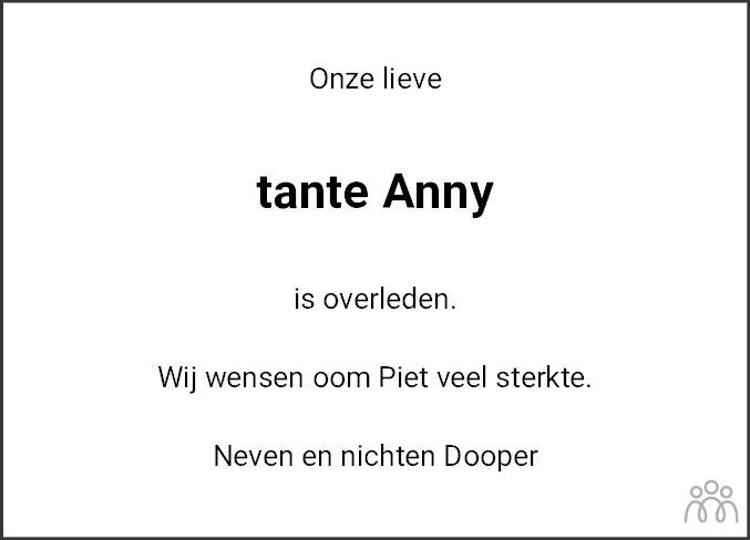 Overlijdensbericht van Anna Agatha (Anny) Ensing-Dooper in Leeuwarder Courant