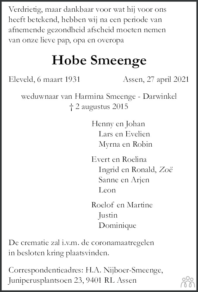 Overlijdensbericht van Hobe Smeenge in Dagblad van het Noorden