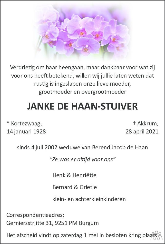 Overlijdensbericht van Janke de Haan-Stuiver in Leeuwarder Courant