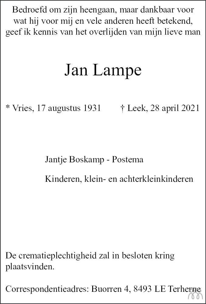 Overlijdensbericht van Jan Lampe in Dagblad van het Noorden