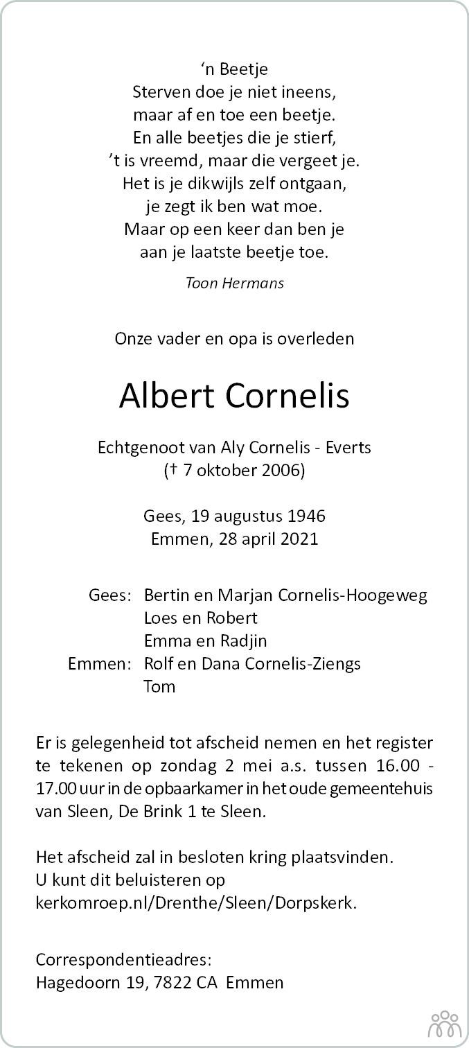 Overlijdensbericht van Albert Cornelis in Dagblad van het Noorden