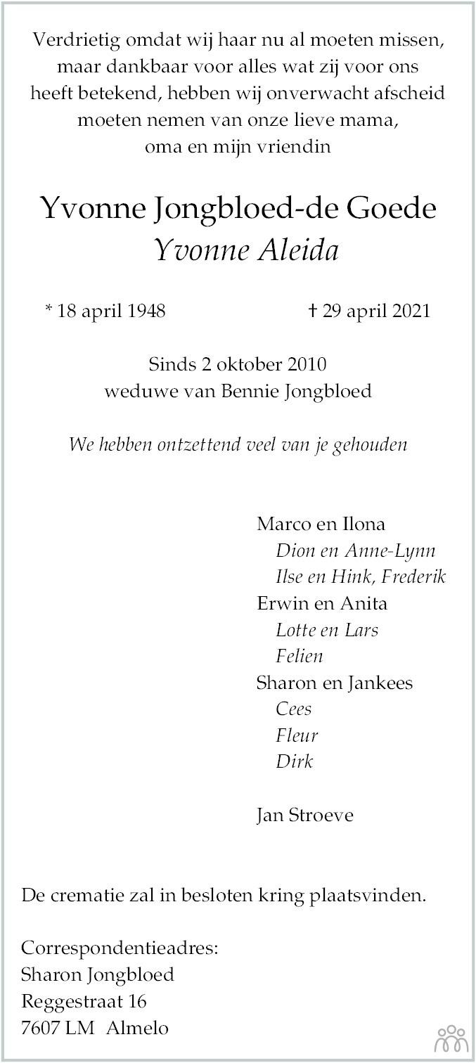 Overlijdensbericht van Yvonne Aleida Jongbloed-de Goede in Dagblad van het Noorden