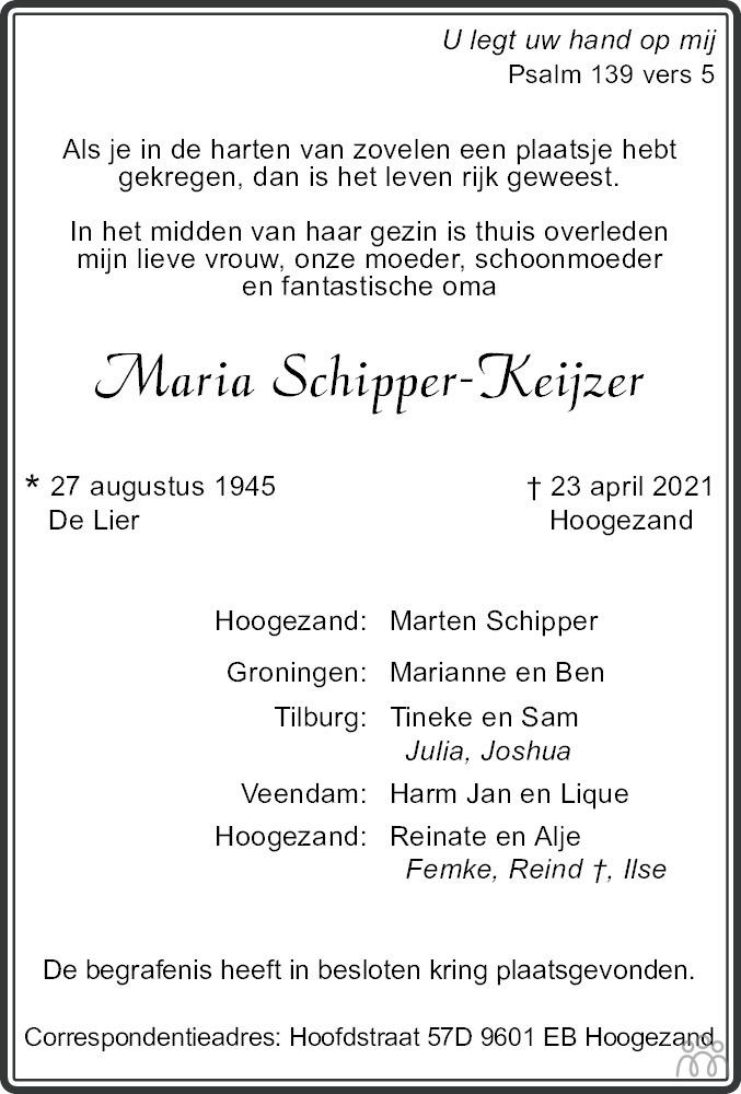 Overlijdensbericht van Maria Schipper-Keijzer in Dagblad van het Noorden