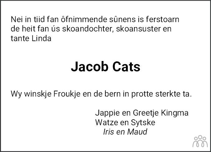 Overlijdensbericht van Jacob Cats in Leeuwarder Courant