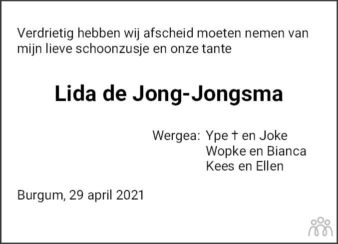 Overlijdensbericht van Lida de Jong-Jongsma in Leeuwarder Courant