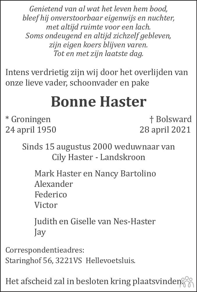 Overlijdensbericht van Bonne Haster in Leeuwarder Courant