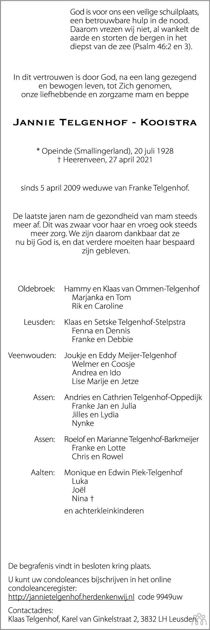 Overlijdensbericht van Jannie Telgenhof-Kooistra in Leeuwarder Courant