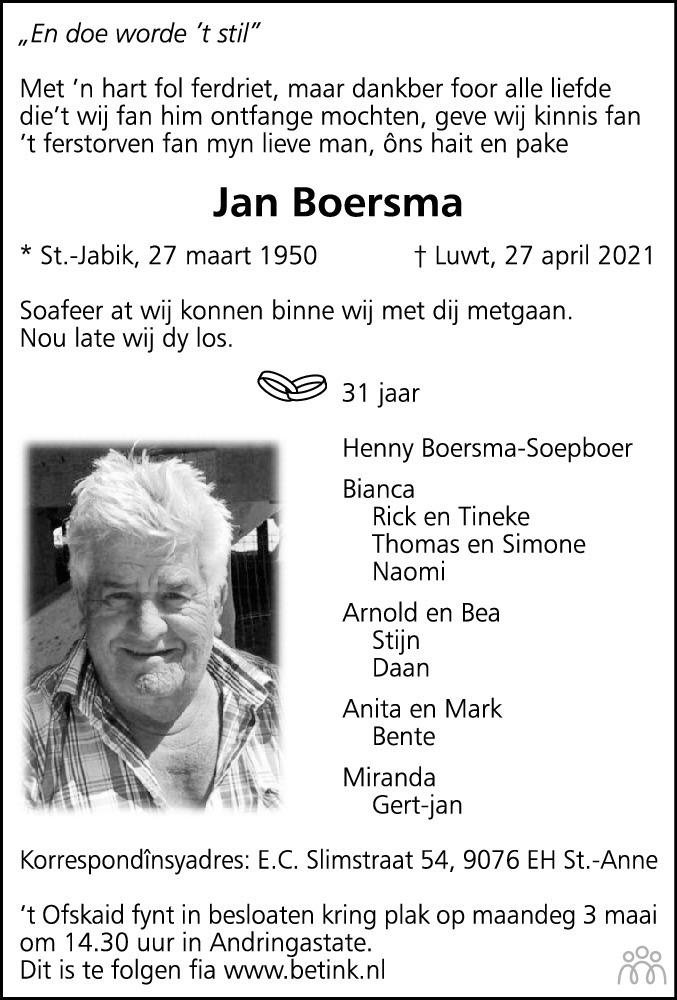 Overlijdensbericht van Jan Boersma in Leeuwarder Courant
