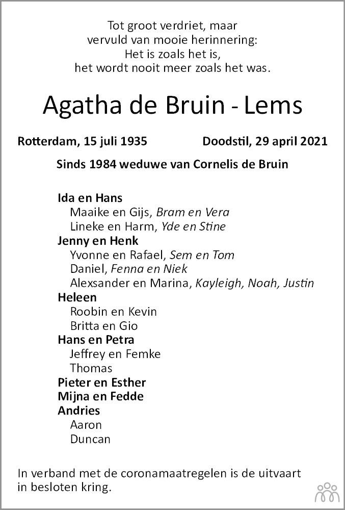 Overlijdensbericht van Agatha de Bruin-Lems in Dagblad van het Noorden