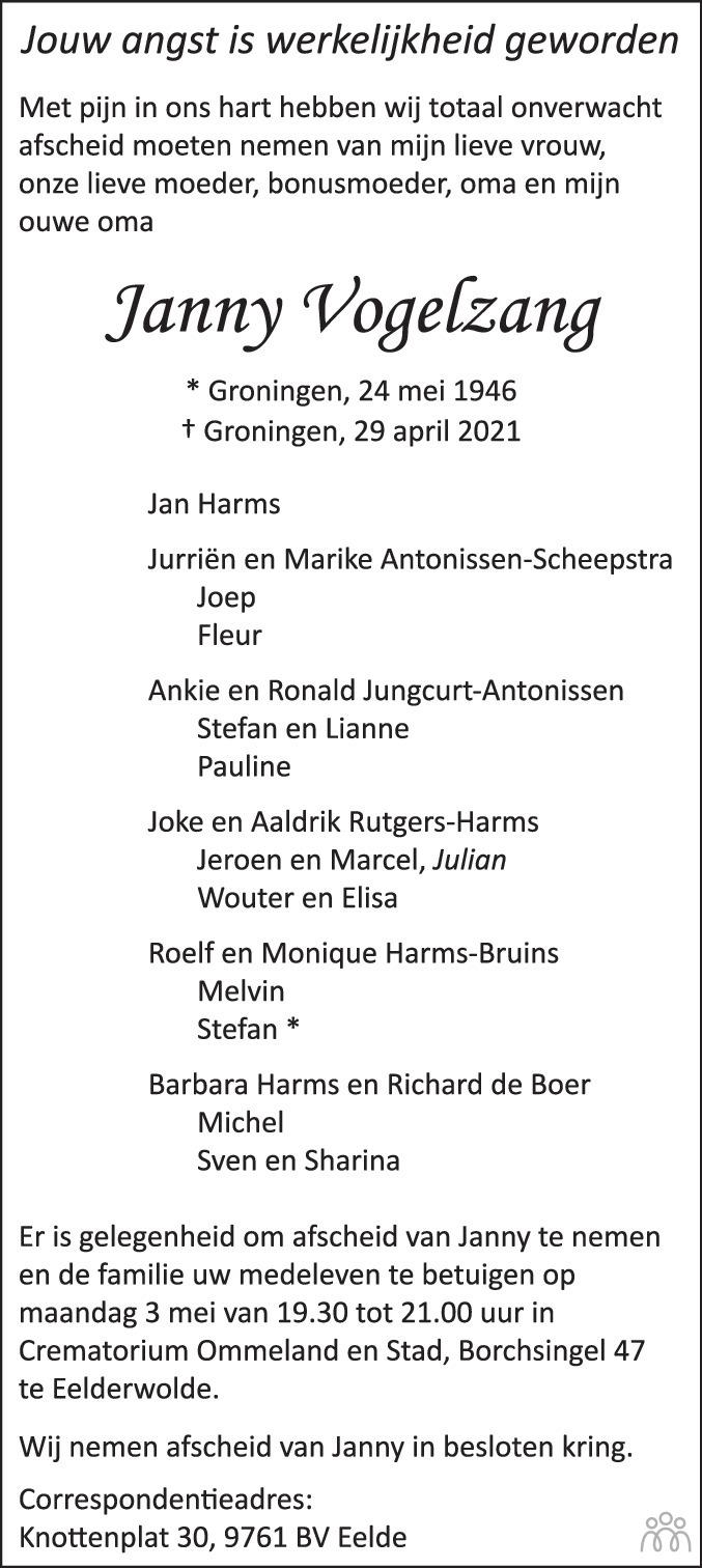 Overlijdensbericht van Janny Vogelzang in Dagblad van het Noorden