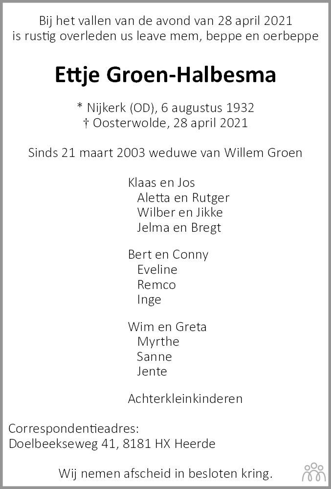 Overlijdensbericht van Ettje Groen-Halbesma in Leeuwarder Courant