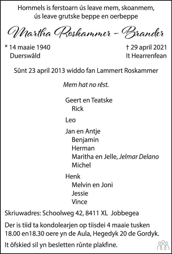 Overlijdensbericht van Martha Roskammer-Brander in Leeuwarder Courant