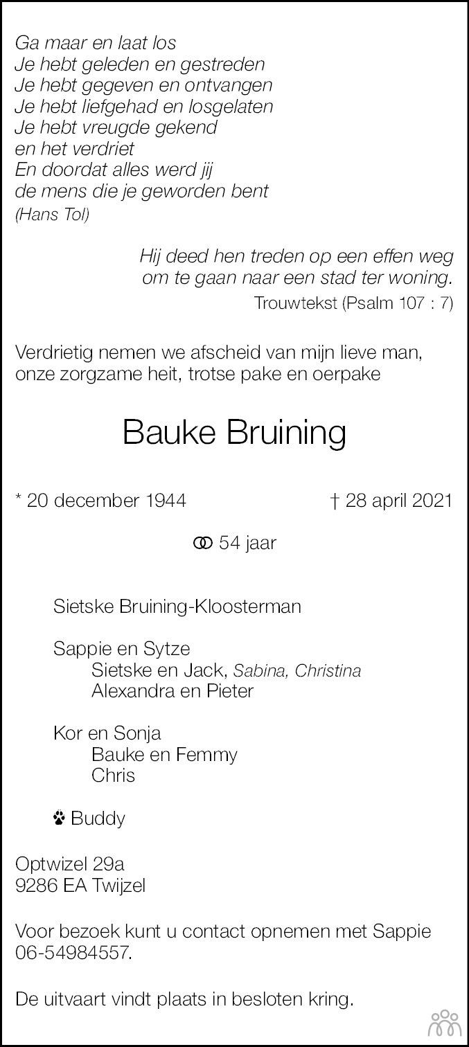 Overlijdensbericht van Bauke Bruining in Leeuwarder Courant