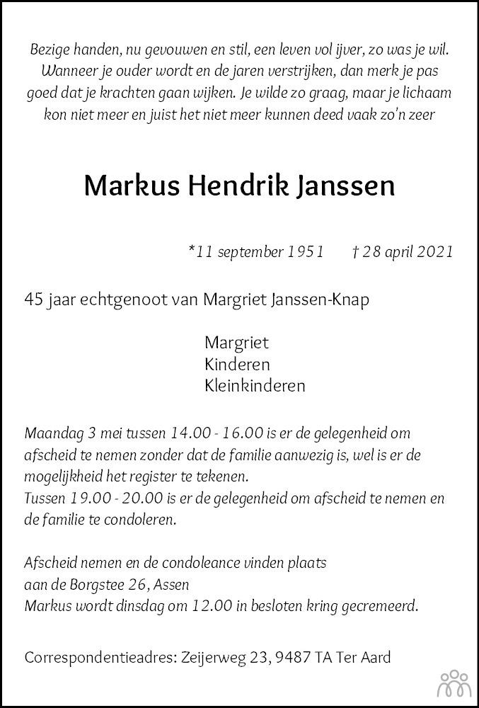 Overlijdensbericht van Markus Hendrik Janssen in Dagblad van het Noorden
