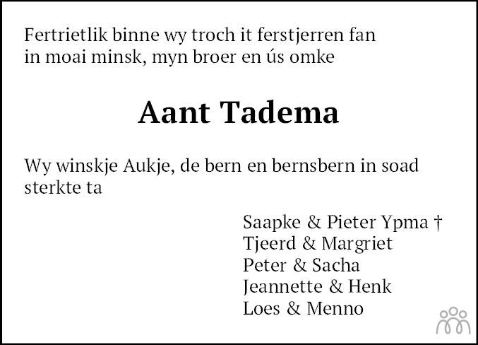 Overlijdensbericht van Aant Tadema in Leeuwarder Courant