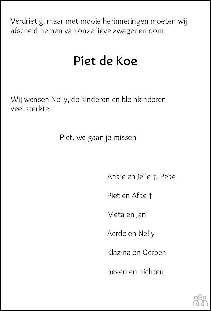 Overlijdensbericht van Pieter Herre (Piet) de Koe in Leeuwarder Courant