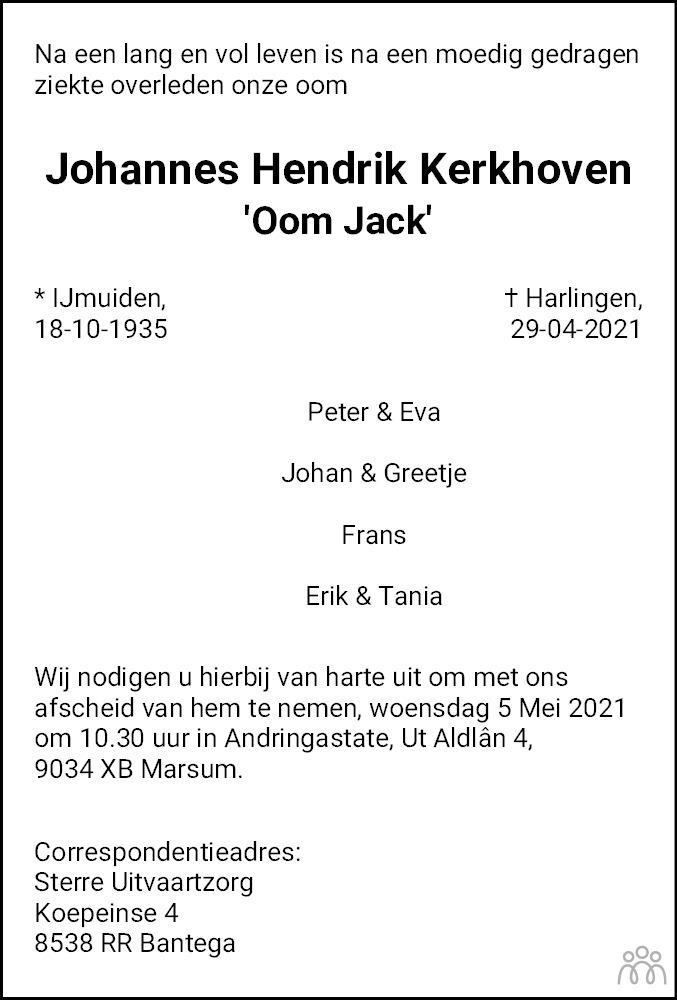 Overlijdensbericht van Johannes Hendrik (Jack) Kerkhoven in Leeuwarder Courant