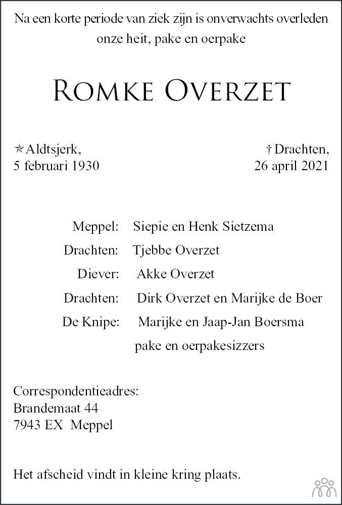Overlijdensbericht van Romke Overzet in Leeuwarder Courant