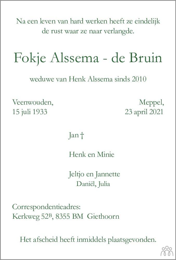 Overlijdensbericht van Fokje Alssema-de Bruin in Meppeler Courant