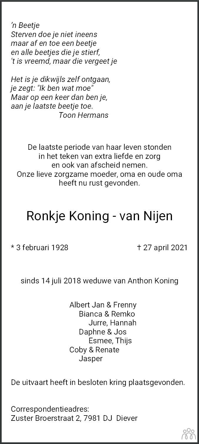 Overlijdensbericht van Ronkje Koning-van Nijen in Meppeler Courant